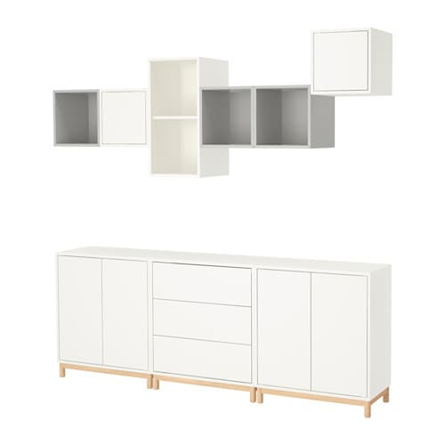 Eket cabinet combination with legs white light grey