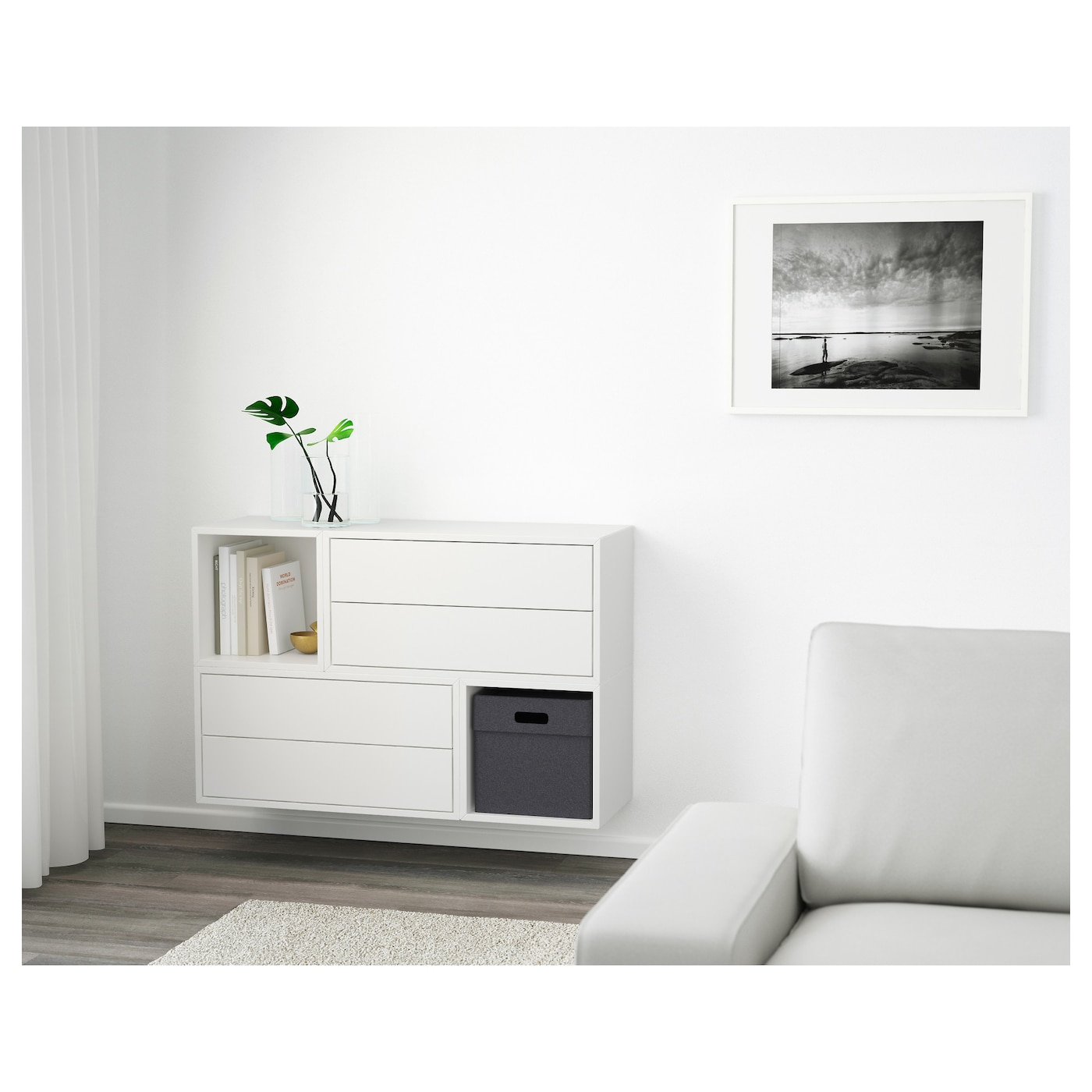 Ikea Kitchen Wall Storage: EKET Wall-mounted Cabinet Combination White 105 X 35 X 70