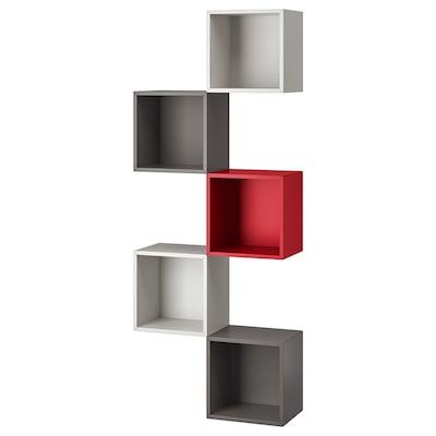 EKET wall-mounted storage combination light grey/dark grey/red 70 cm 25 cm 175 cm