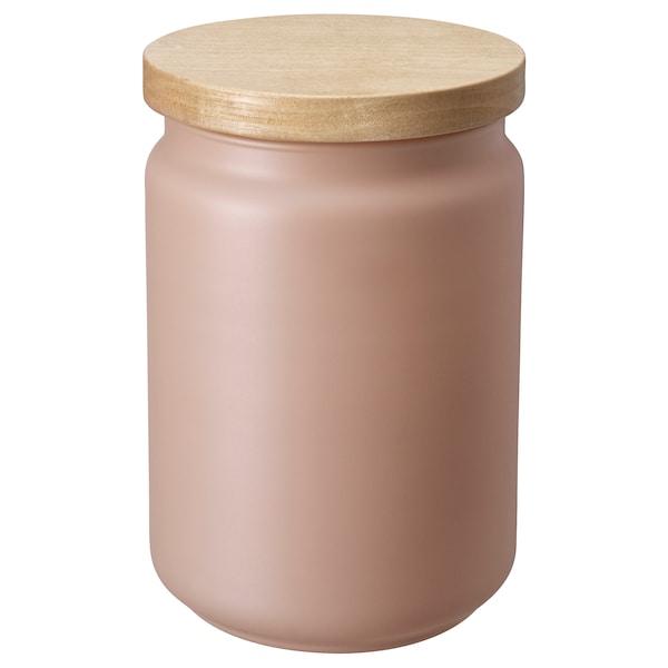 EKLATERA jar with lid beige 16 cm 9 cm 1.1 l