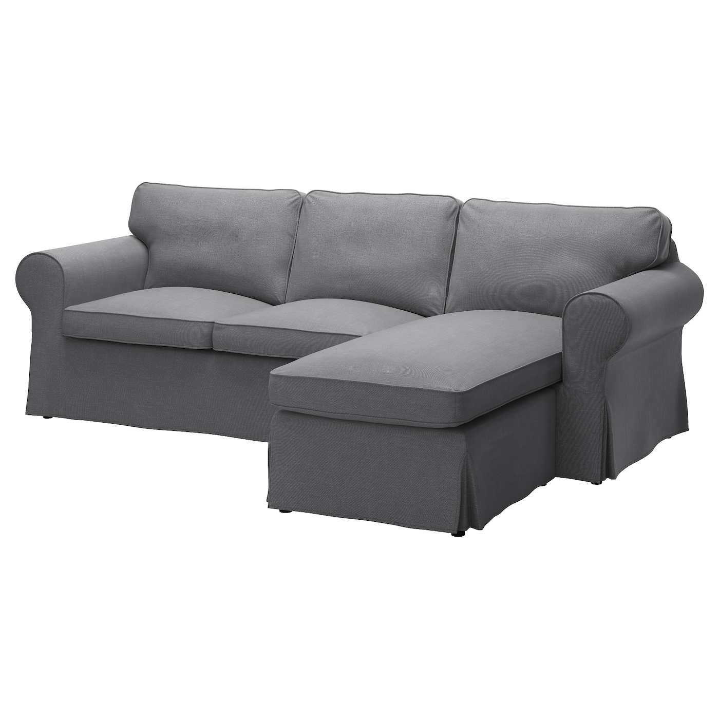 Ektorp 3 seat sofa with chaise longue nordvalla dark grey - Cubre sofas chaise longue ...