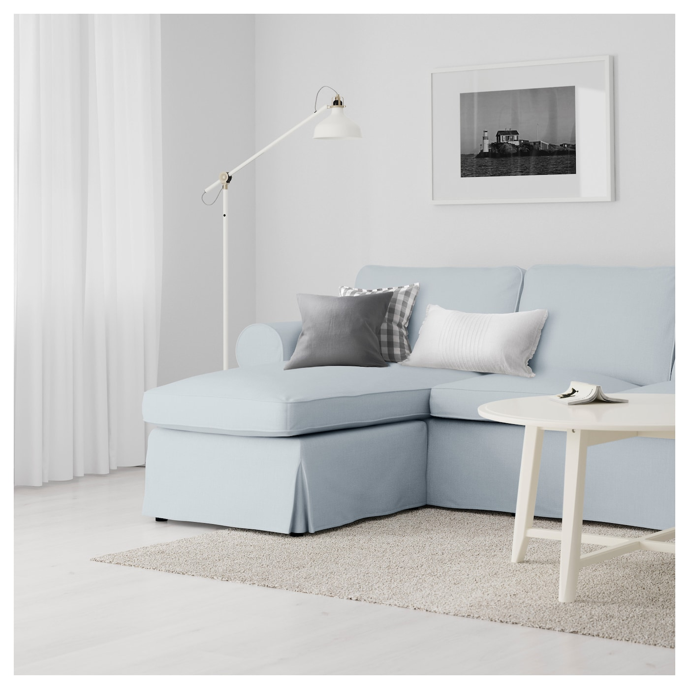 Ektorp 3 seat sofa with chaise longue nordvalla light blue for 3 seat sofa with chaise