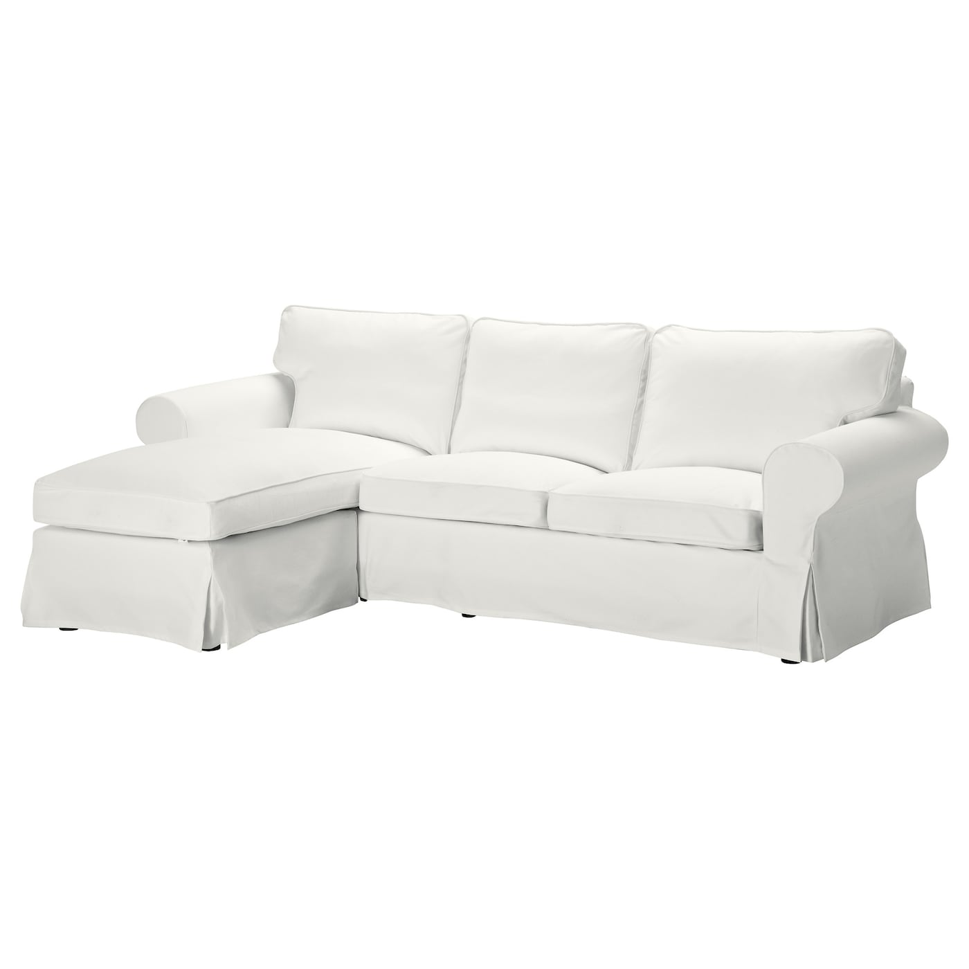 Ektorp two seat sofa and chaise longue blekinge white ikea for Couch with 2 chaises