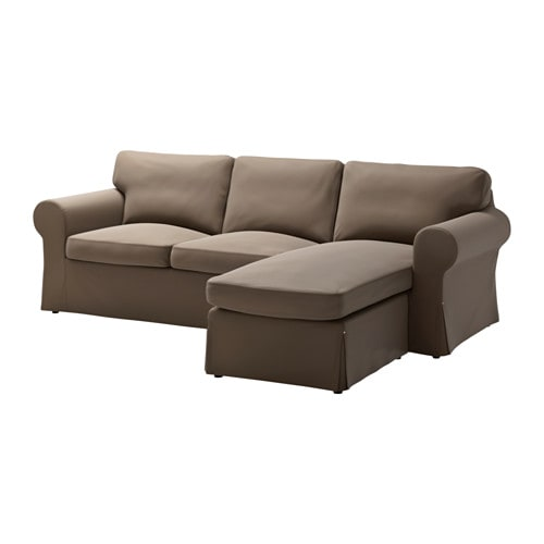 Ektorp two seat sofa and chaise longue kniva brown ikea for Brown chaise longue