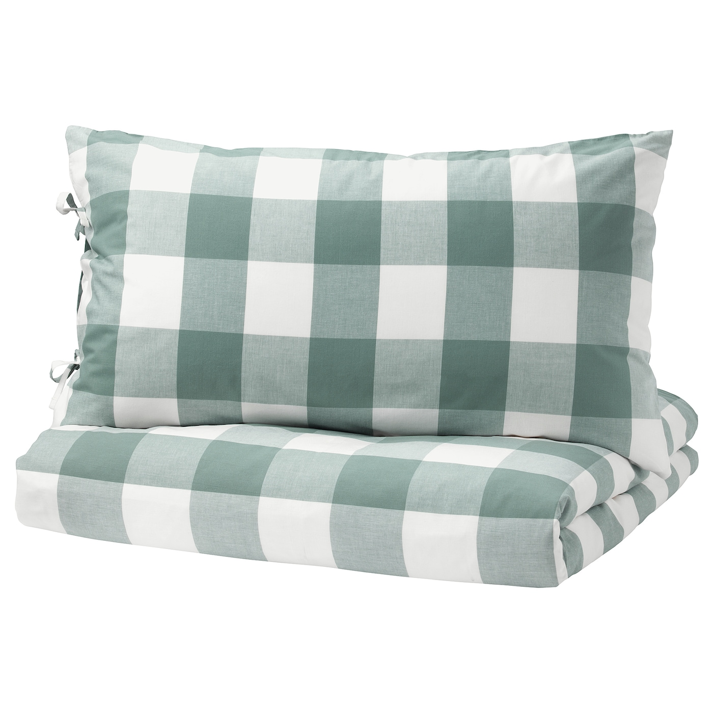 IKEA EMMIE RUTA quilt cover and pillowcase Decorative ribbons keep the quilt in place.