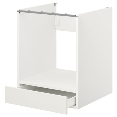 ENHET Base cabinet for oven with drawer, white, 60x62x75 cm
