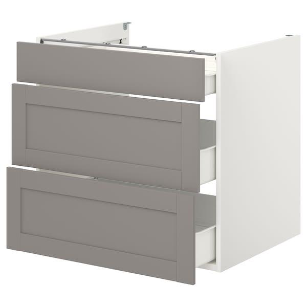 ENHET Base cb w 3 drawers, white/grey frame, 80x62x75 cm