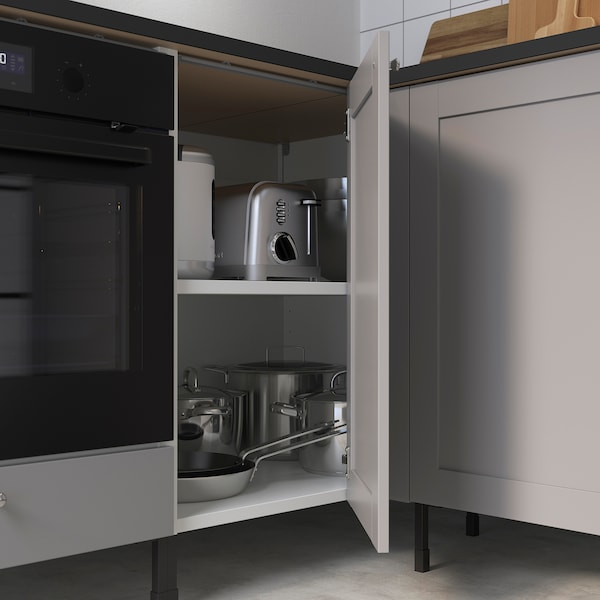 ENHET Corner kitchen, white/grey frame