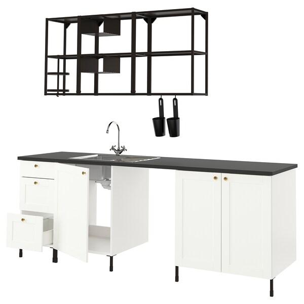 ENHET Kitchen, anthracite/white frame, 243x63.5x222 cm