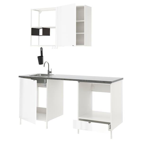 ENHET Kitchen, white/high-gloss white, 183x63.5x222 cm