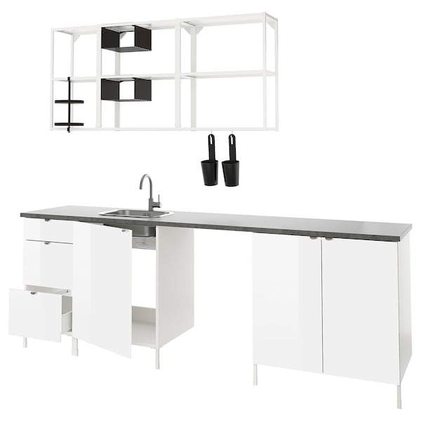 ENHET Kitchen, white/high-gloss white, 243x63.5x222 cm