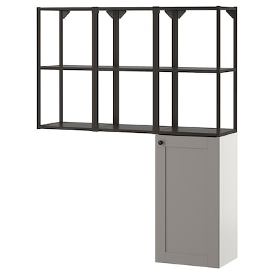ENHET Storage combination for laundry, anthracite/grey frame, 120x30x150 cm