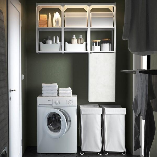 ENHET Storage combination for laundry, white/concrete effect, 120x32x150 cm