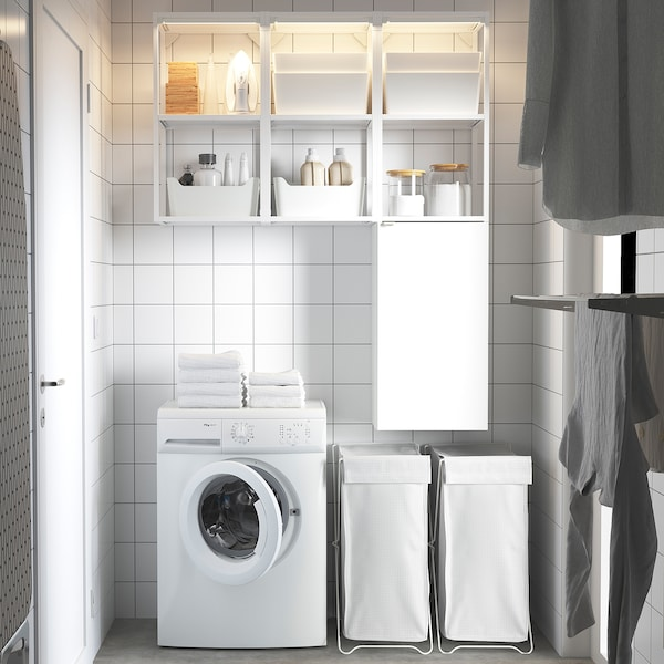 ENHET Storage combination for laundry, white/high-gloss white, 120x32x150 cm