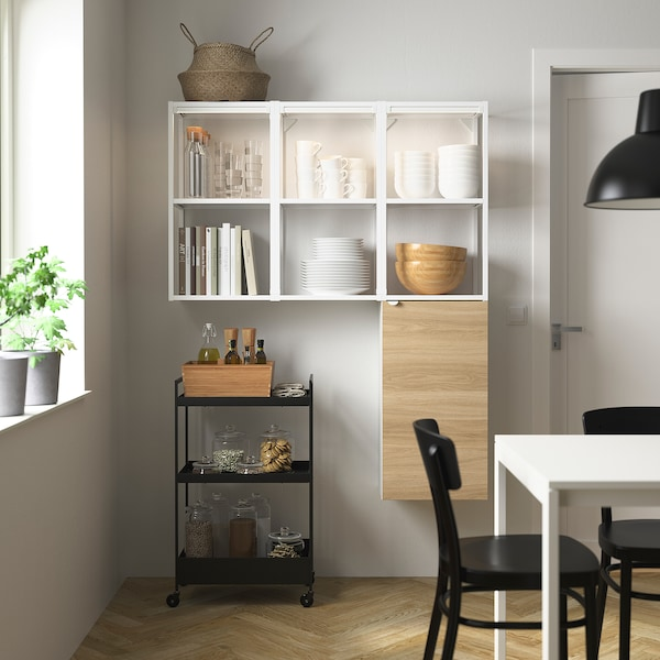 ENHET Storage combination for laundry, white/oak effect, 120x32x150 cm