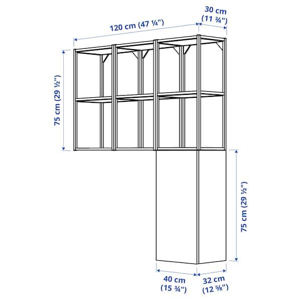 ENHET Storage combination for laundry, white/white frame, 120x32x150 cm
