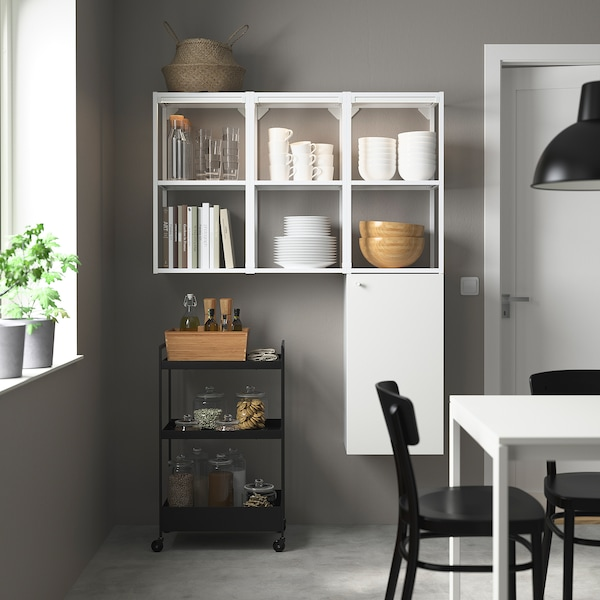 ENHET Storage combination for laundry, white, 120x32x150 cm