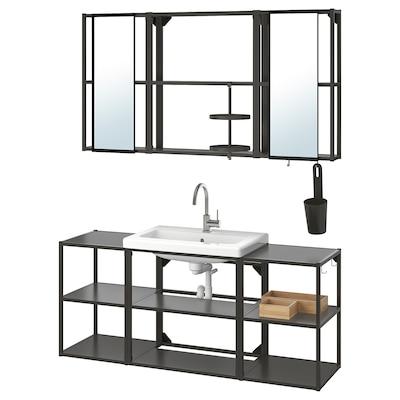 ENHET / TVÄLLEN Bathroom furniture, set of 17, anthracite/Glypen tap, 140x43x65 cm