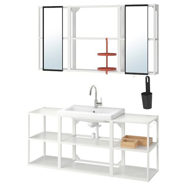 ENHET / TVÄLLEN Bathroom furniture, set of 17, white/Glypen tap, 140x43x65 cm