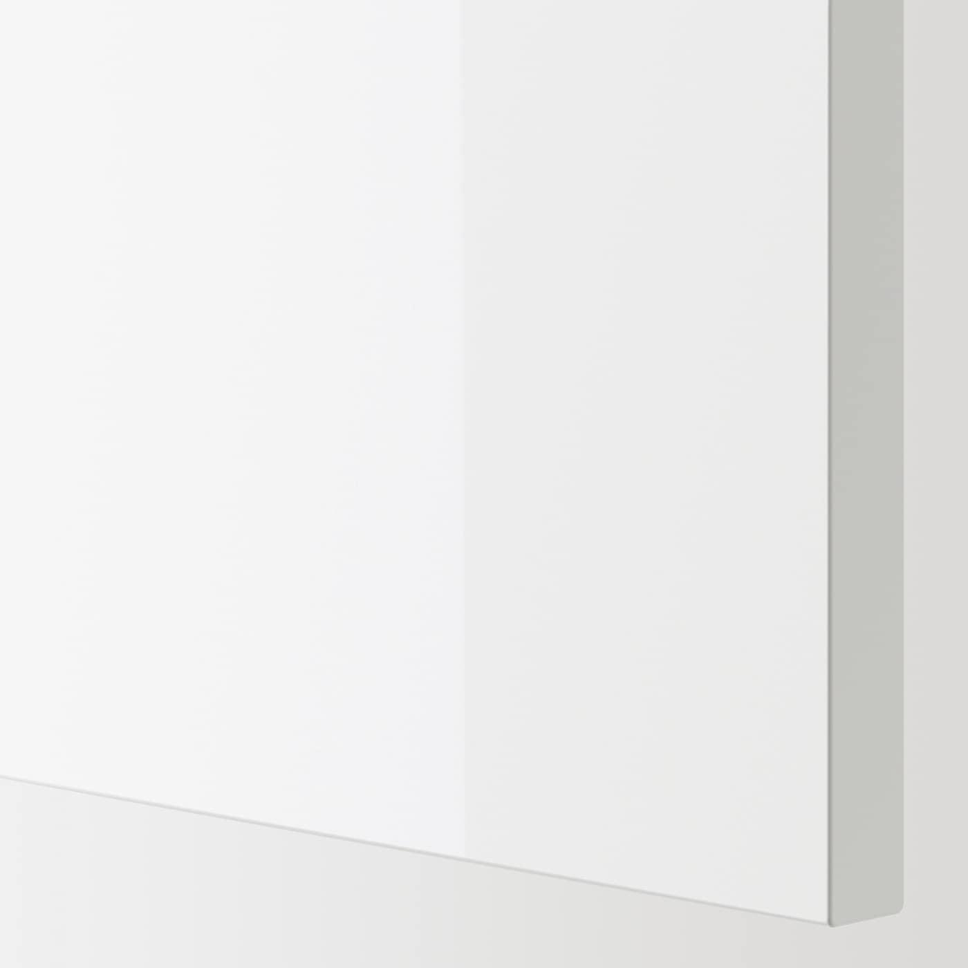 ENHET Wall cb w 2 shlvs/doors, grey/high-gloss white, 40x15x75 cm