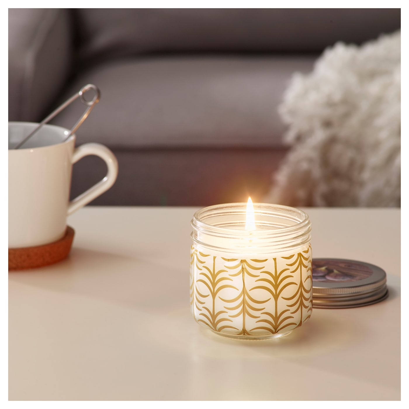 IKEA FÖRLIKA scented candle in glass Scent of fig with notes of coffee, cedar and amber.