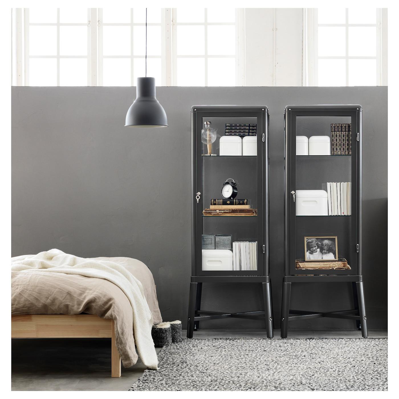 Ilse Crawford Ikea Deutschland ~ FABRIKÖR Glass door cabinet Dark grey 57×150 cm  IKEA