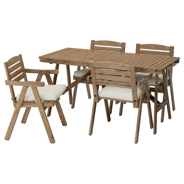 FALHOLMEN Table+4 chairs w armrests, outdoor, light brown stained/Frösön/Duvholmen beige