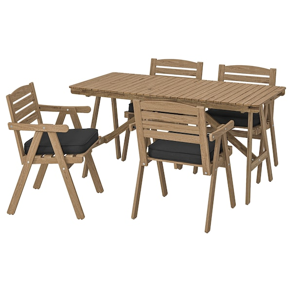FALHOLMEN Table+4 chairs w armrests, outdoor, light brown stained/Järpön/Duvholmen anthracite
