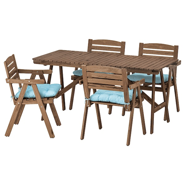 FALHOLMEN Table+4 chairs w armrests, outdoor, light brown stained/Kuddarna light blue