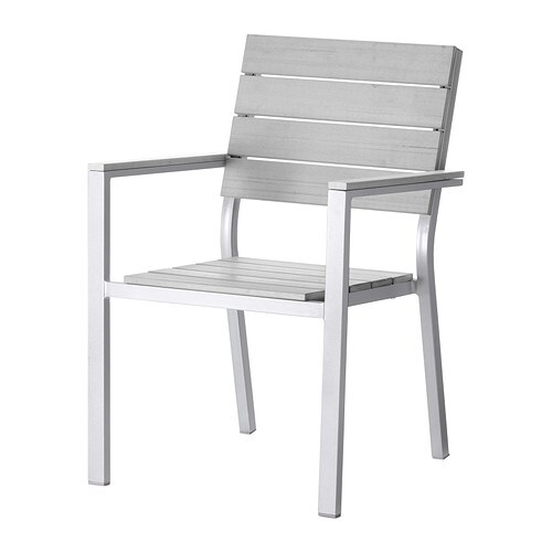 IKEA FALSTER chair with armrests, outdoor Can be stacked, which helps you save space.