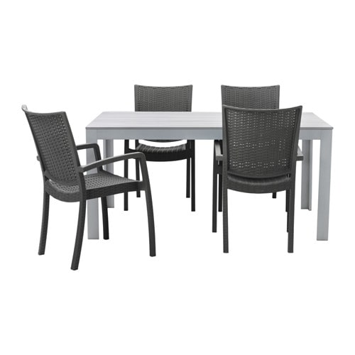 IKEA FALSTER/INNAMO table+4 chairs w armrests, outdoor