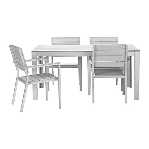 IKEA FALSTER table+4 chairs w armrests, outdoor