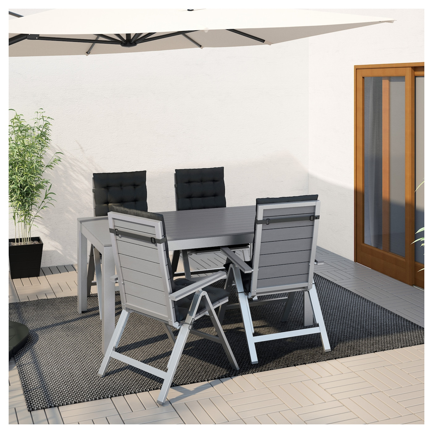 IKEA FALSTER table+4 reclining chairs, outdoor