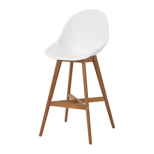 Fanbyn bar stool with backrest white 74 cm ikea for Chaise 65 cm ikea