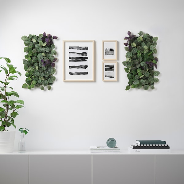 FEJKA Artificial plant, wall mounted/in/outdoor green/lilac, 26x26 cm