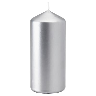 FENOMEN Unscented block candle, silver-colour, 15 cm
