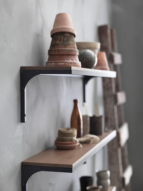 FJÄLLBO Wall shelf, black, 101x20 cm