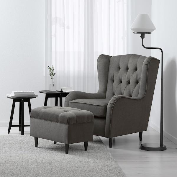 FLÄCKEBO Footstool, grey