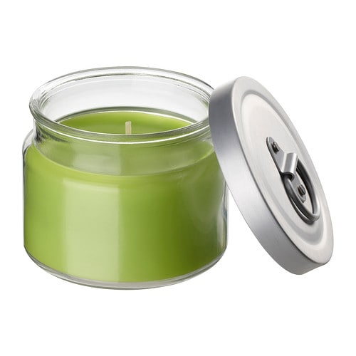 FLÄRDFULL Scented candle in glass IKEA Easy to extinguish the candle by putting on the lid; that keeps the scent inside too.