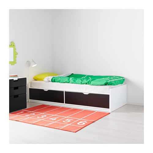 FLAXA Bed frame w storage+slatted bedbase White 90x200 cm - IKEA