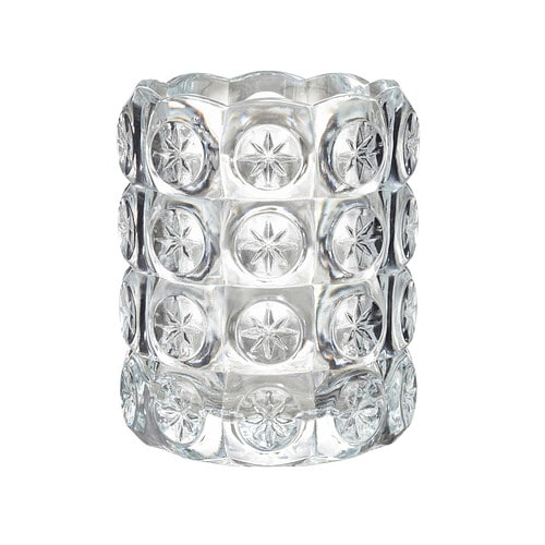 IKEA FLEST tealight holder The clear glass reflects and enhances the warm glow of the candle-flame.