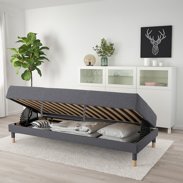 FLOTTEBO Sofa-bed, Gunnared medium grey, 90 cm