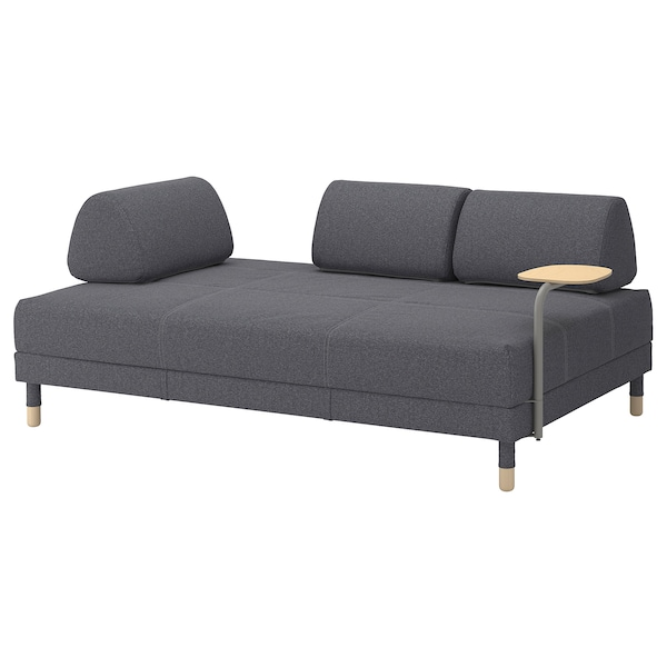 FLOTTEBO Sofa-bed with side table, Gunnared medium grey, 120 cm