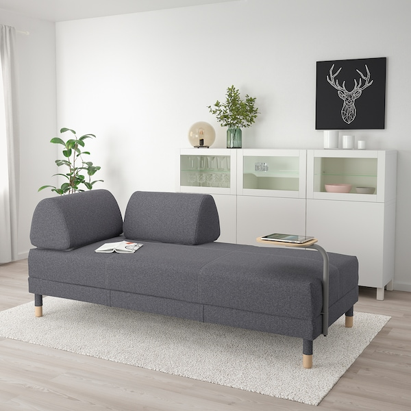 FLOTTEBO Sofa-bed with side table, Gunnared medium grey, 90 cm