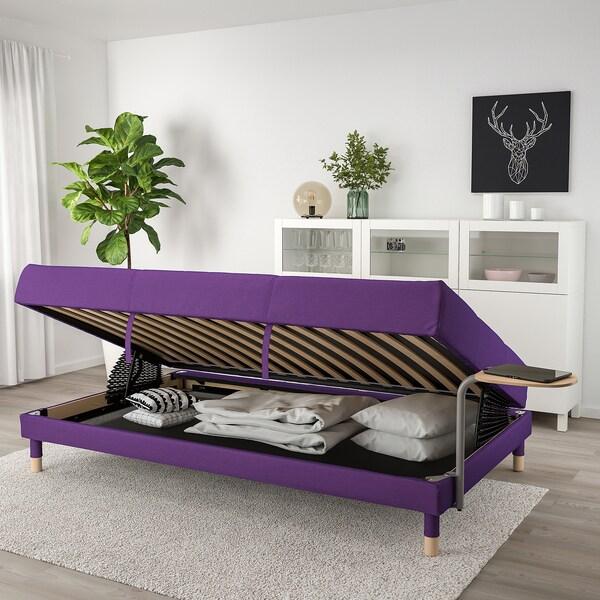 FLOTTEBO Sofa-bed with side table, Vissle purple, 120 cm