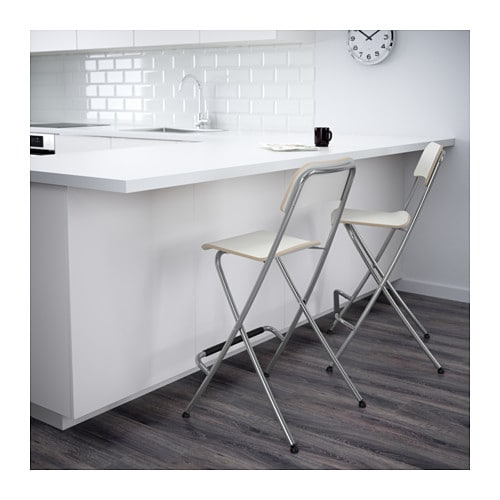FRANKLIN Bar Stool With Backrest Foldable White Silver Colour 63 Cm IKEA