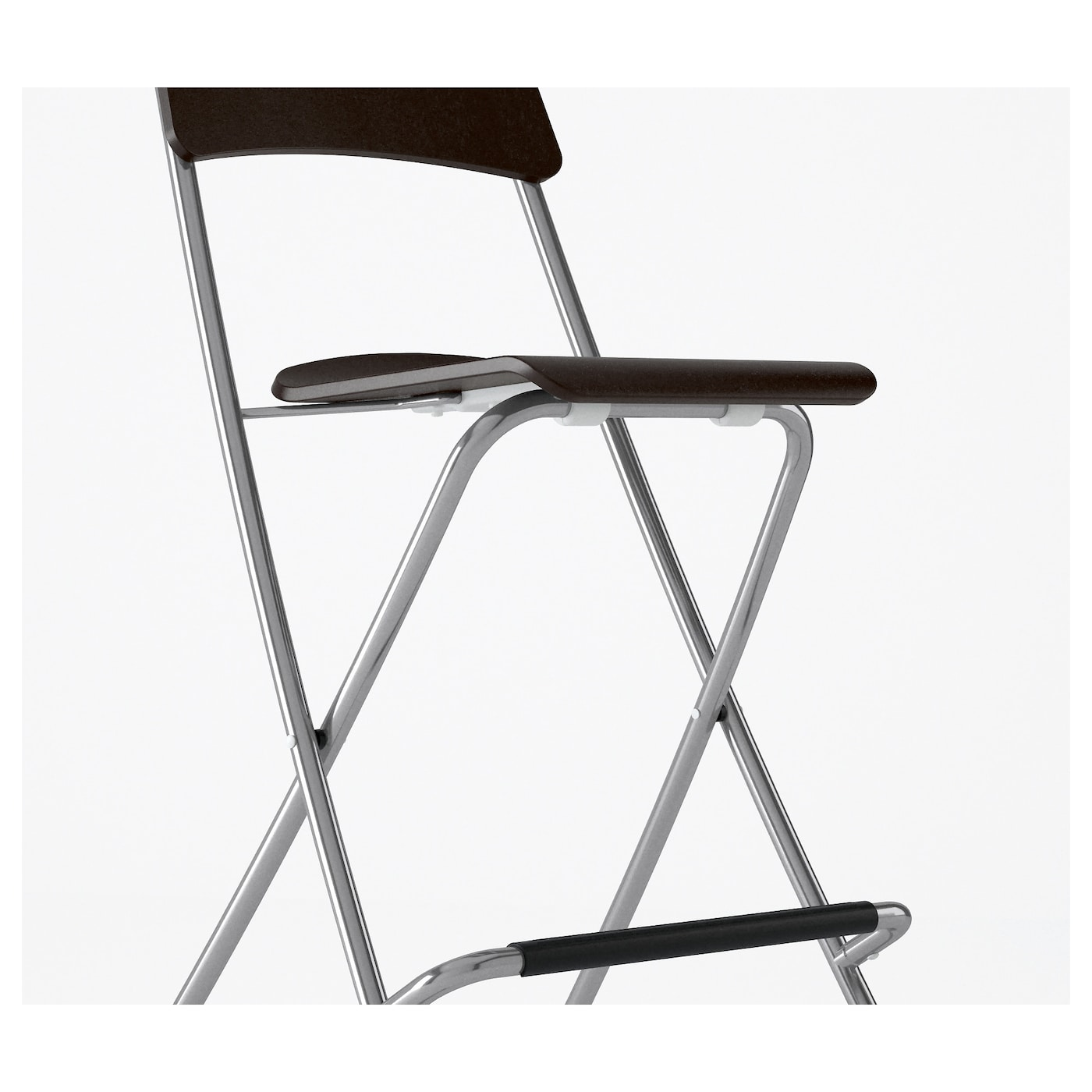 Franklin bar stool with backrest foldable brown black for Folding bar stools ikea