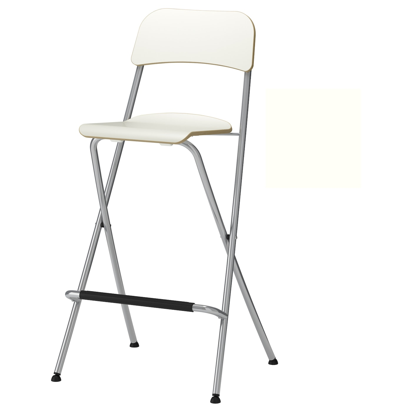 FRANKLIN Bar stool with backrest foldable White silver colour 74