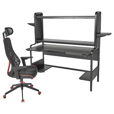 FREDDE / MATCHSPEL Gaming desk and chair, black