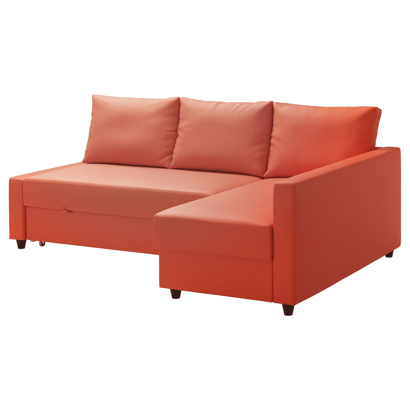 Friheten corner sofa bed with storage skiftebo dark orange for Sofa organizer